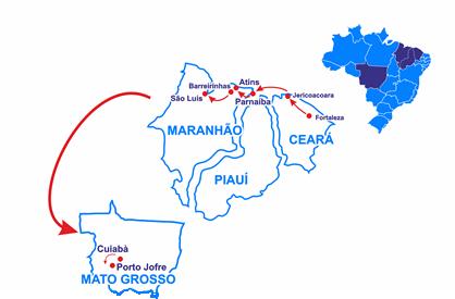 Mapa Da Fortaleza a São Luís in 4x4 e il Pantanal del Giaguaro