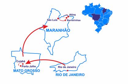 Mapa Rio, o Pantanal do Jaguar e Lençois Maranhenses