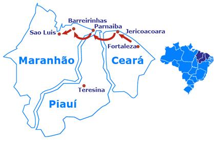 Mapa Fortaleza até São Luis de 4x4