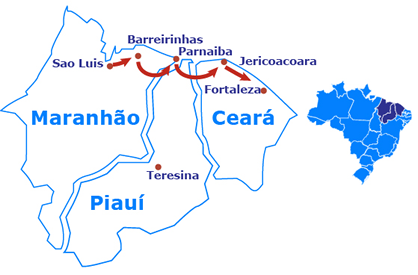Mapa Lençois Maranhenses, Delta das Americas e Jericoacoara