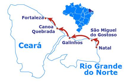 Mapa Natal até Fortaleza de 4X4